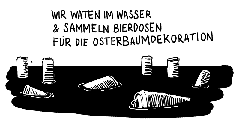 Bierdosen treiben im Wasser (WIR WATEN IM WASSER & SAMMELN BIERDOSEN FÜR DIE OSTERBAUMDEKORATION)